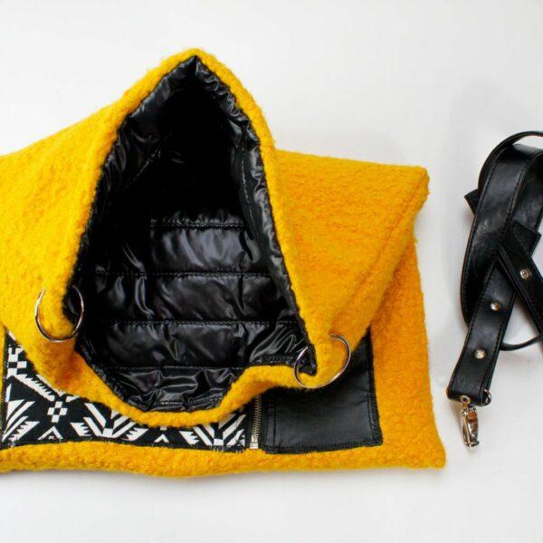 Torebka handmade z welny boucle z plaszcza, spodnicy z ekoskory i ortalionowej pikowki.