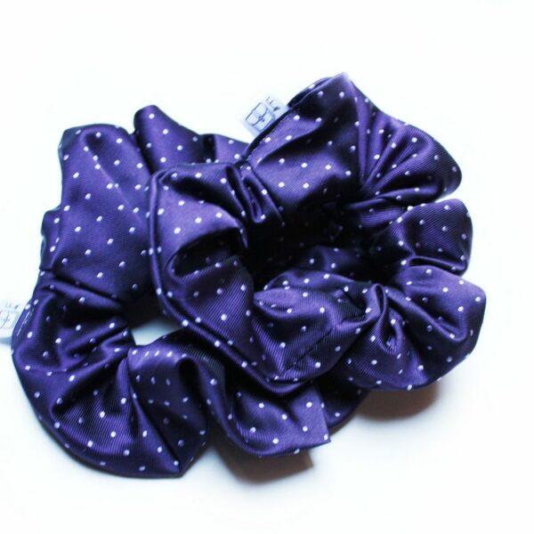Frotki do włosów z fioletowego krawata w białe kropeczki