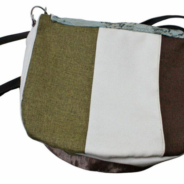 Trójkolorowy: khaki, brązowy, ecru tył torebki listonoszki.